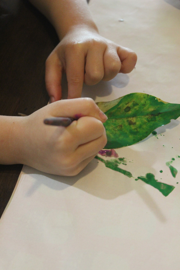 Painting with nature leaf painting with Finlee and Me