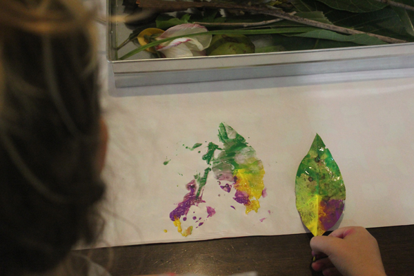 Painting with nature leaf patterns with Finlee and Me